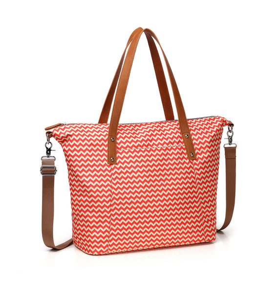 Diaper Tote Bag CheekyTummy Sassy Orange Chevron