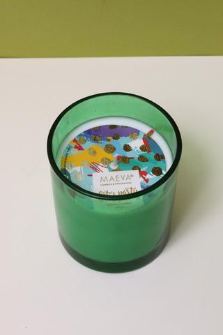 Paan Scented Glass Candle - Green