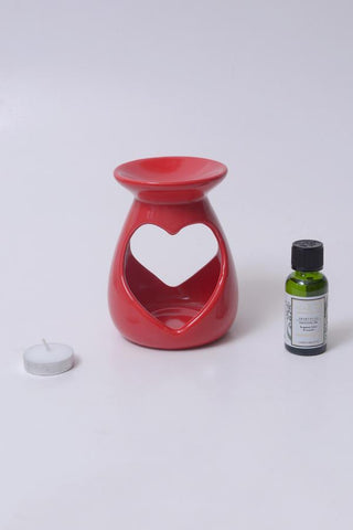 Amore Red Ceramic Burner - Aromatherapy Set