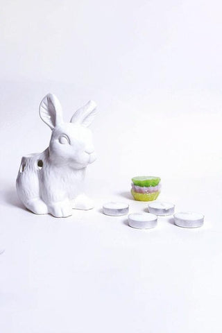 Bunny Burner with wax melts and tealights