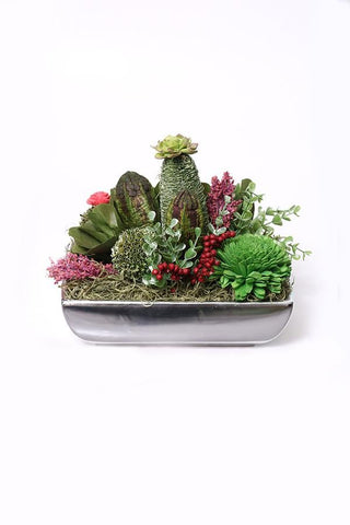 Winter Green Succulents Pot Decor