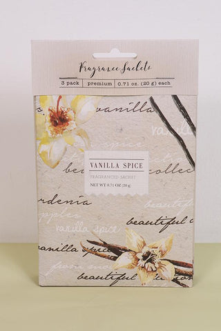 Vanilla Spice Fragrance Sachets - Pk of 3