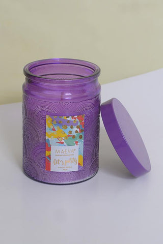 Paan Scented Embossed Jar Glass Candle - Purple