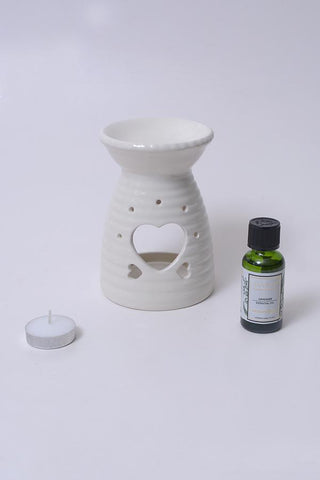 White Heart Ceramic Burner - Aromatherapy Set
