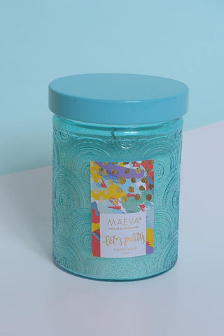 Paan Scented Embossed Jar Glass Candle - Blue