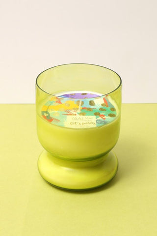Rose Scented Votive Glass Candle - Green