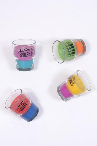 Rose Scented Pack of 4 Quirky Tea-Glass Candles