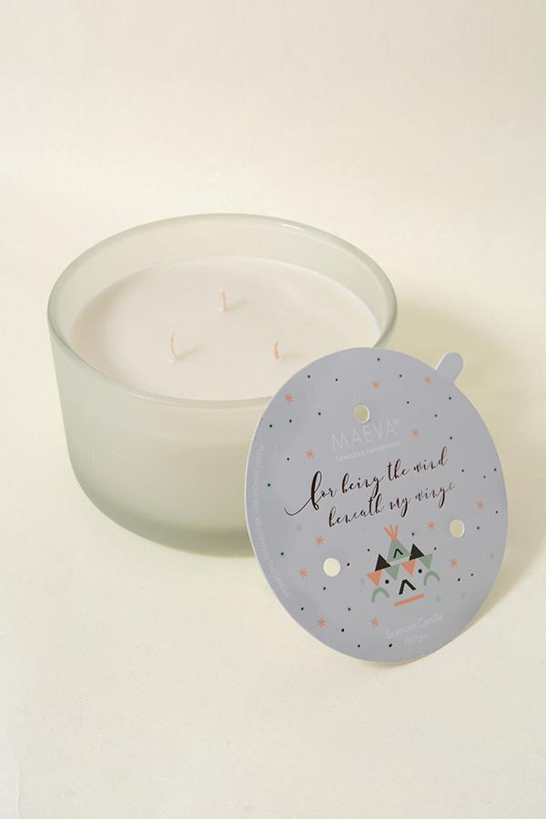 White Frosted 3-Wick Glass Scented Candle - White Tuberose