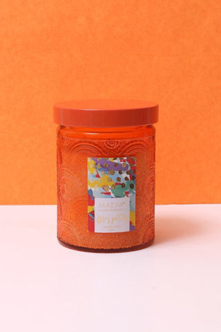 Paan Scented Embossed Jar Glass Candle - Orange
