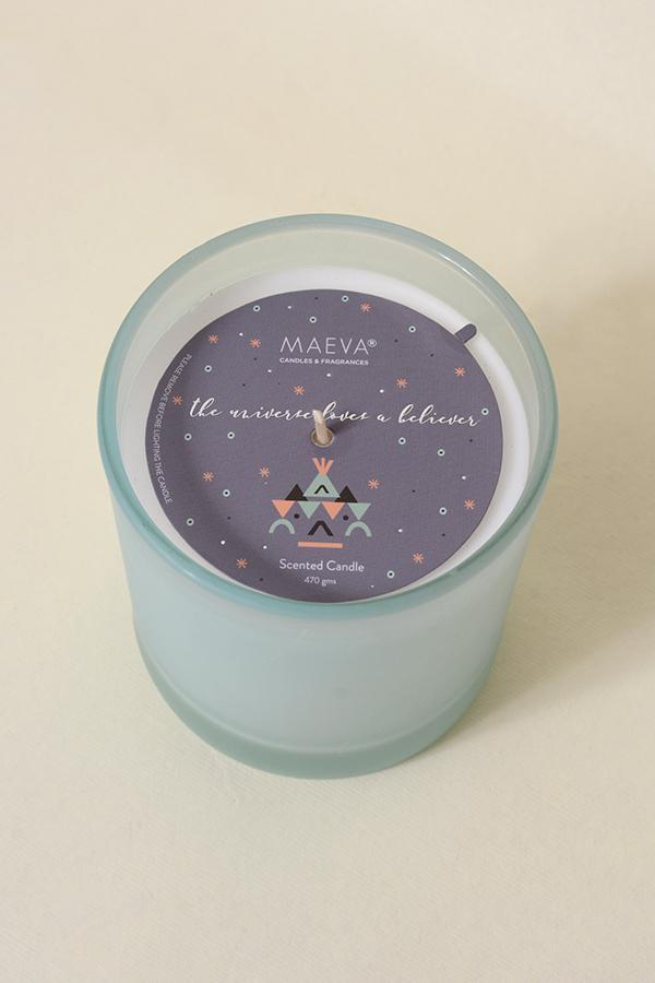 Blue Frosted Votive Glass Candle
