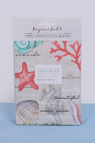 Sandy Beach Fragrance Sachets - Pk of 3