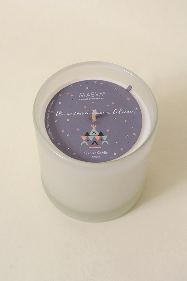White Frosted Votive Glass Scented Candle - White Tuberose