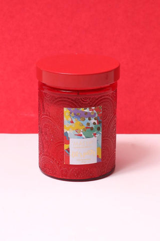 Paan Scented Embossed Jar Glass Candle - Red