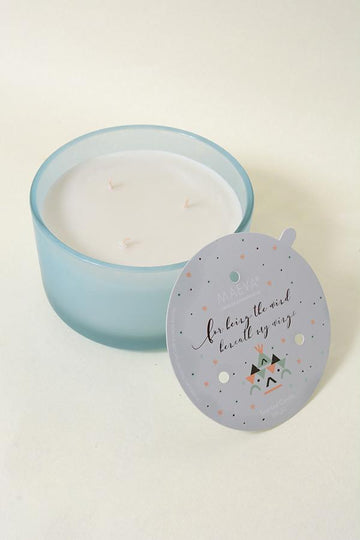 Blue Frosted 3-Wick Glass Candle
