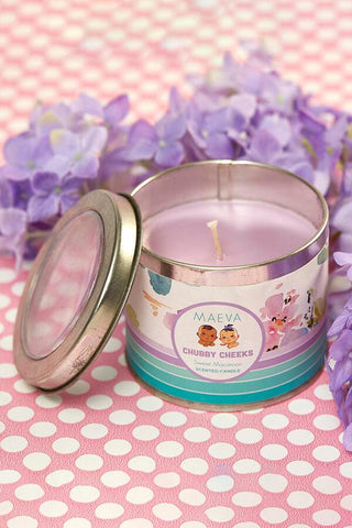 Baby Shower Scented Tin candle - window lid