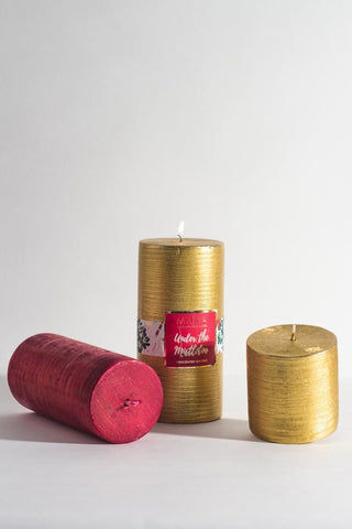 "Christmas Pillar Candle (Gold) - LARGE 3"" X 6"""