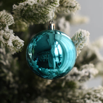 Aqua Blue Glossy Bauble Decor - Set of 2