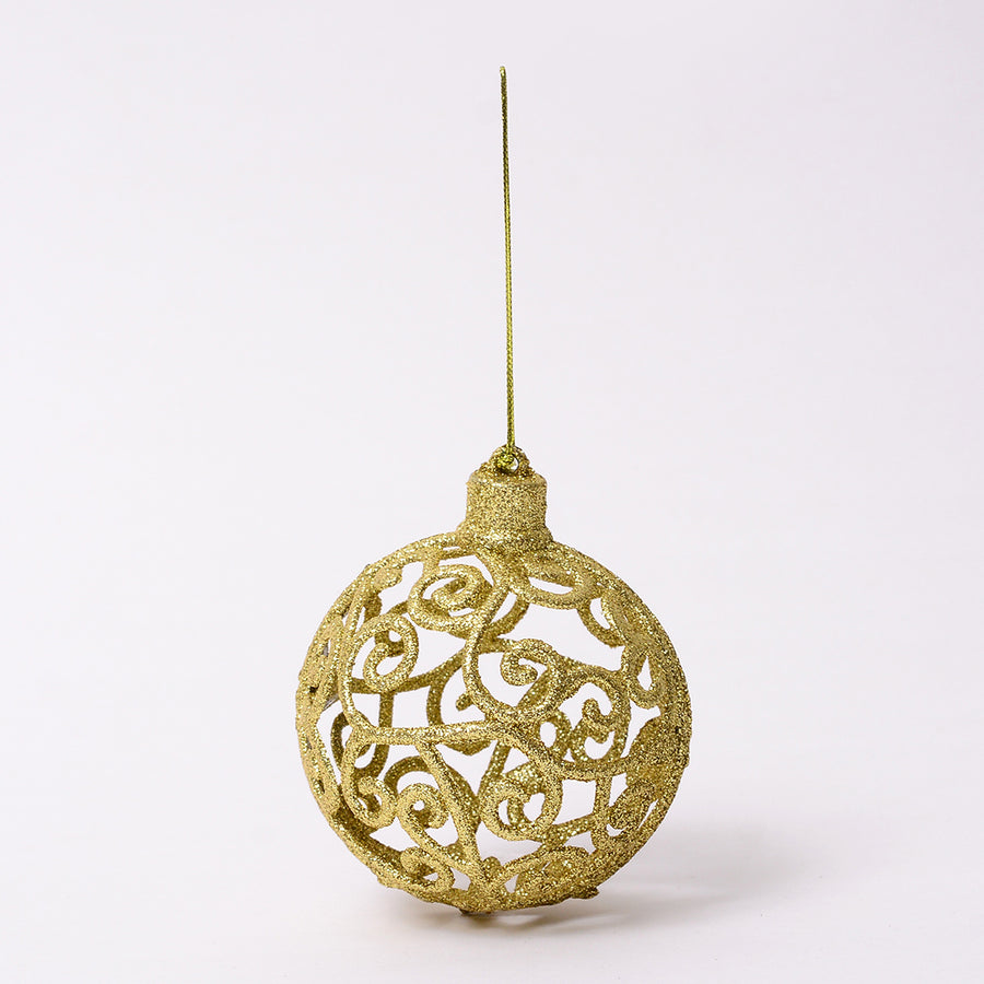 Golden Glitter Bauble Decor - Set of 2