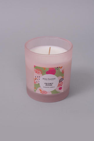 Peony Rose Frosted Glass Candle