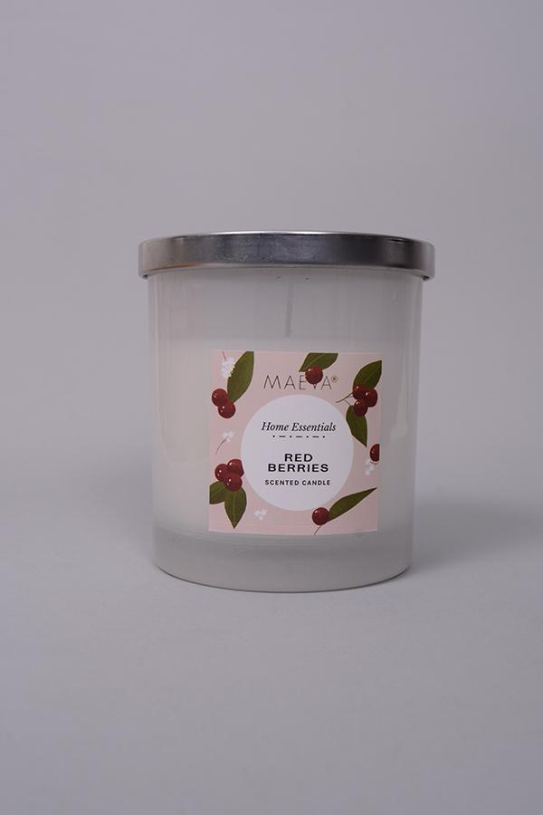 Red Berries Votive Glass Candle