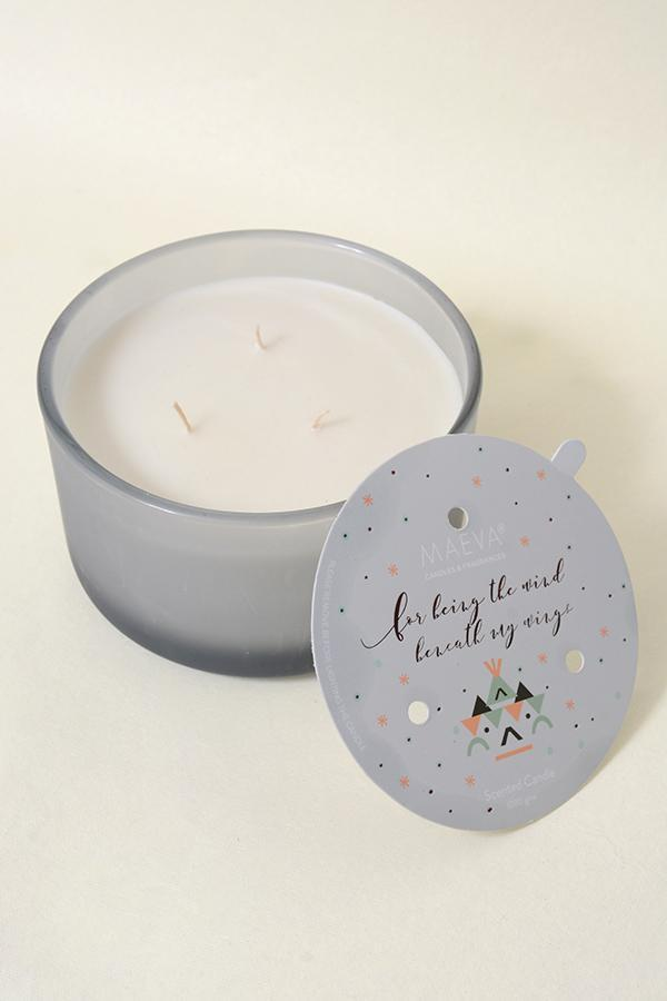 Grey Frosted 3-Wick Glass Scented Candle - Lavender