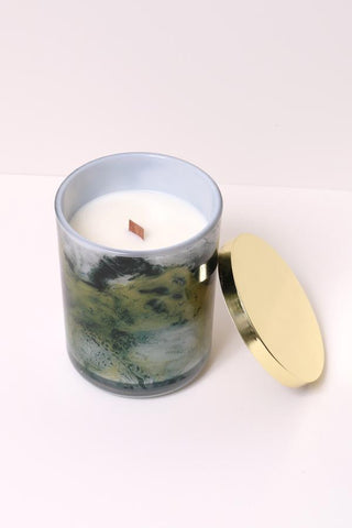Tuscan Leather Scented Wooden-Wick Candle