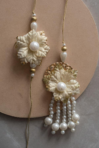 Beige Blossom Couple Rakhi