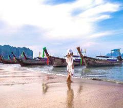 Our White Silk Kaftan on the beaches of Thailand thanks to beautiful @nuriatravels!