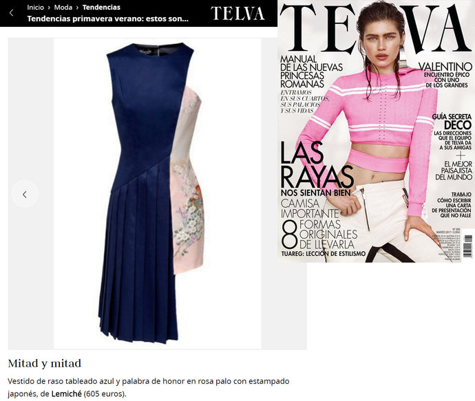 TELVA Tendencias features our Asymmetric Pleated Dress for this Spring!