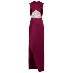 LONG ASYMMETRIC GARNET DRESS