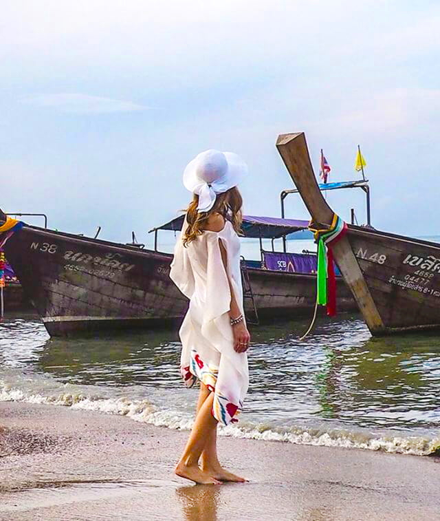 Gorgeous traveler Nuria @travelera.es exploring shores of Thailand in our White Silk Kaftan!