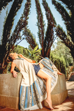 "Load image into Gallery viewer, ""LAZY AFTERNOON"" SLIT MAXI DRESS – NAVY BLUE - Lemiché"