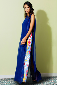 SILK ETHNIC COLUMN DRESS - Lemiché