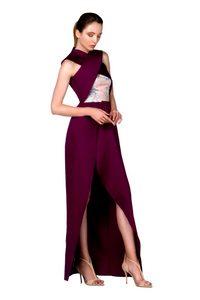LONG ASYMMETRIC GARNET DRESS - Lemiché