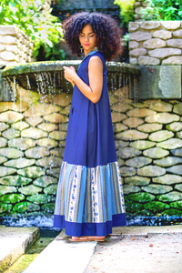"""LAZY AFTERNOON"" SLIT MAXI DRESS – NAVY BLUE - Lemiché"