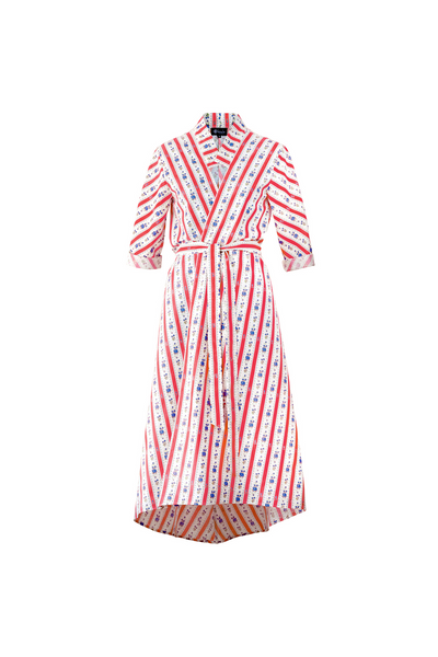 """SIESTA"" WRAP DRESS - RED CRETONE - Lemiché"