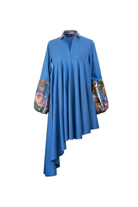 """SUNSWIRL COCKTAIL"" DRESS – BLUE CAMPINA - Lemiché"
