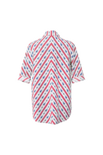 "Load image into Gallery viewer, ""SANDALS ONLY"" WRAP SHIRT - RED CRETONE - Lemiché"