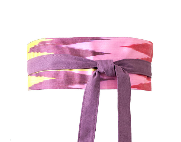 Ikat fabric obi belt