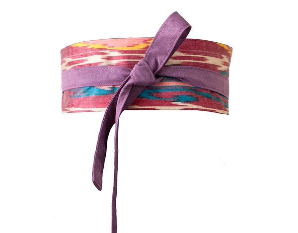 Purple wrap fabric ikat obi belt