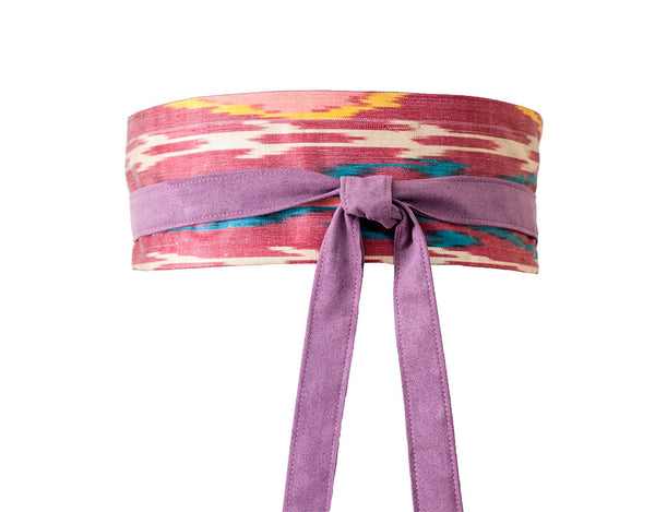 Purple ikat fabric tie belt