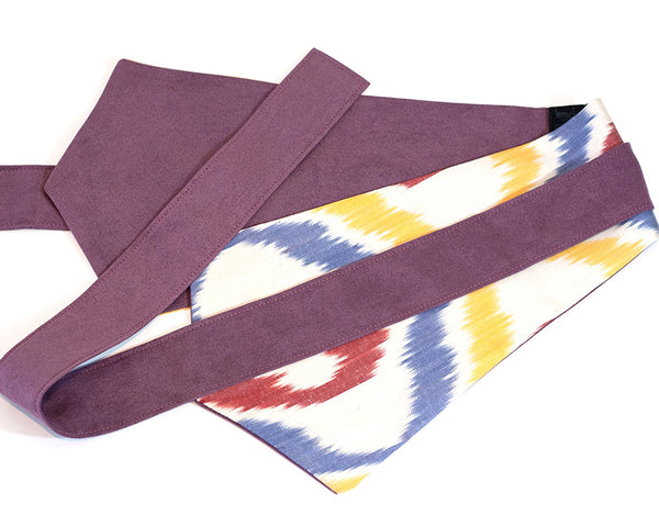 Wrap around wide fabric belt - Uzbekistan ikat