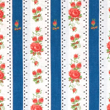 Load image into Gallery viewer, Traditional Chitas de Alcobaca - blue stripes and red roses