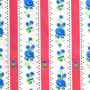 Traditional printed cotton from Portugal Chitas de Alcobaca - red stripes and blue roses