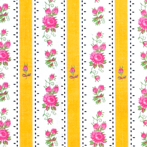 Yellow and rose flowers - traditional pattern on Chitas de Alcobaça from Portugal