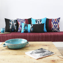 Load image into Gallery viewer, TURQUOISE AND BLACK DOUBLE-SIDED IKAT CUSHION COVER - Lemiché