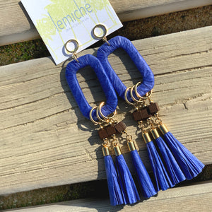 Gold-plated big dangling raffia earrings with blue tassels and wood beads