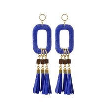 Load image into Gallery viewer, Maxi statement blue raffia earrings with paper tassels and wooden beads