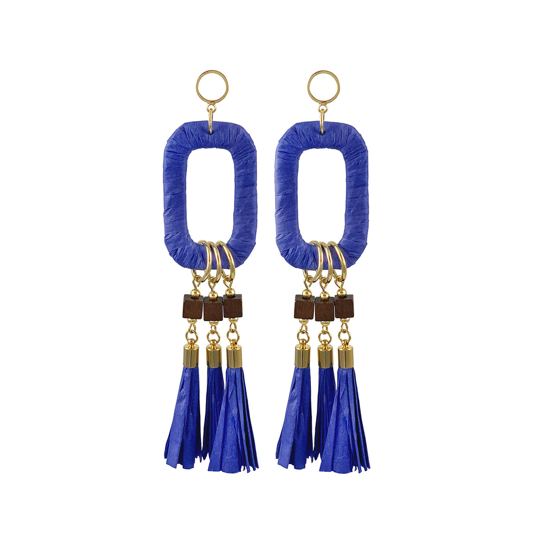 Maxi statement blue raffia earrings with paper tassels and wooden beads