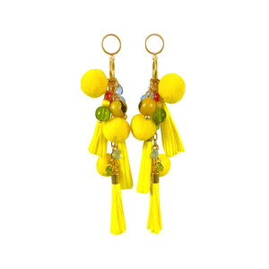 Sun yellow paper tassel summer statement earrings
